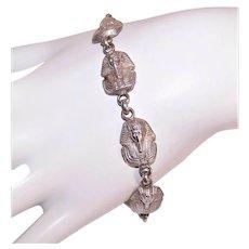 Egyptian Revival Sterling Silver Link Bracelet - King Tutankhamun Face Mask Heads