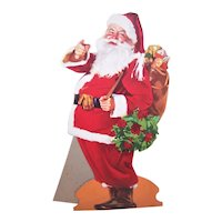 Vintage Coca Cola Christmas Santa Claus Cardboard Store Display Stand Up - Haddon Sundblum Image