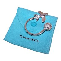 Tiffany & Co. World Traveler Sterling Silver Key Ring with Pouch and Box