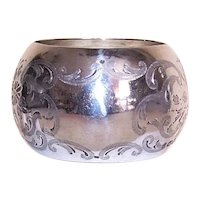 C.1897 English Sterling Silver Napkin Ring - Napkin Holder | Engraved Florals | Mark Willis & Son | Open Shield for Engraving