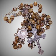 Vintage FRENCH Religious Rosary - Silverplate Metal and Glass Bead