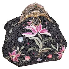 Black Beaded Evening Purse with Cloisonne Frame   Embroidered Florals and Faux Pearl Embellishments