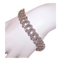 Sterling Silver Triple Link Starter Charm Bracelet with Spacer Beads