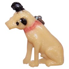Vintage Made in Japan Cracker Jack Plastic Charm - Nipper, the RCA Mascot Dog