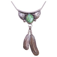 Native American Navajo Sterling Silver Turquoise Feather Drop Pendant