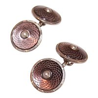 1930s Art Deco Chrome Cufflinks with Engraved Mother of Pearl Panels - Faux Pearl Centers