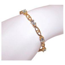 Sterling Silver Vermeil 3.15CT TW Aquamarine Tennis Bracelet