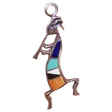 Native American Navajo Sterling Silver Inlaid Stone Kokopelli Pendant