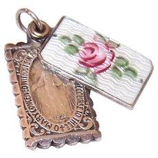 Sterling Silver Enamel Religious Slider Medal Pendant or Charm - Miraculous Medal | Saint Joseph & Infant Jesus | Sacred Heart of Mary