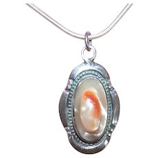 Native American Sterling Silver Blister Pearl Pendant or Charm
