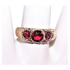 Antique Edwardian 14K Gold 1.06CT TW Red Tourmaline 3-Stone Gypsy Ring with Floral Engraving