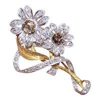 Art Deco Platinum 18K Gold 3.30CT TW Diamond Brooch - Double Floral with Fancy Color Diamond Centers