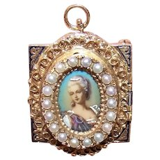 Victorian Revival 14K Gold Cultured Pearl & Portrait Miniature Pendant or Pin with Geneva 17 Jewel Working Watch