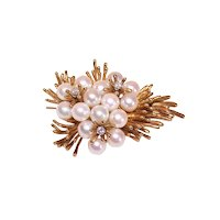 Modernist 18K Gold Diamond Cultured Pearl Pin Brooch | Trio of Flowers with Stems