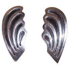 Made in Mexico Mexican Sterling Silver Screwback Earrings - True Left & Right Waves