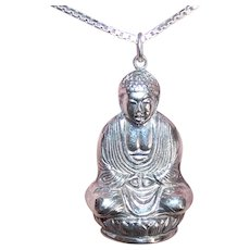 Made in Japan Sterling Silver Seated Meditating Buddha Pendant