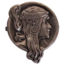 Art Nouveau Unger Brothers Sterling Silver Watch Pin - Profile of Alphonse Mucha Maiden