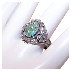 Old Pawn Native American Navajo Sterling Silver Royston Turquoise Ring