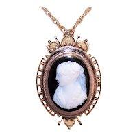 Antique Victorian 14K Gold Sardonyx Hardstone Cameo Pin Pendant | Elizabethan Lady Profile Left