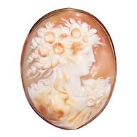 Antique Edwardian 14K Gold Carved Shell Cameo Pendant or Pin | Lady in Profile Facing Right