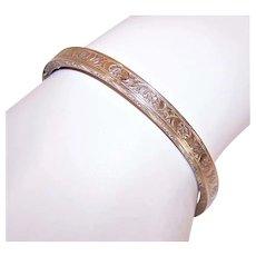 Gold Filled on Sterling Silver Bangle Bracelet for a Small Wrist - Floral Design