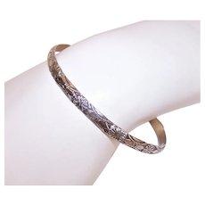"""Beau Sterling Silver 1/4"""" Bangle Bracelet - Interesting Stamped Design"""