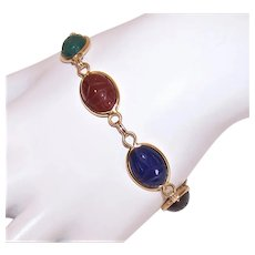 Van Dell 14K Gold Multi-Semi Precious Stone Carved Scarab Link Bracelet with Safety Chain
