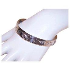 Stuart Nye Sterling Silver Bangle Bracelet - Winter Pine Cone Design