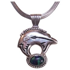 Signed IHMSS Running Bear Brand Sterling Silver Pendant with Azurite Cab | Bear Pendant