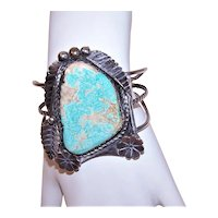 Native American Navajo Sterling Silver Blue Gem Turquoise Cuff Bracelet