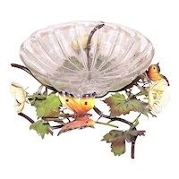 Made in Italy Italian Tole Fruit Bowl Candy Bowl | Original Glass Insert | Butterfly and Buttercups