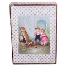 Antique Victorian Light Cardboard Trinket Box | Chromo Graphics of Children, Dog and Cat