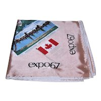 Vintage 100% Satin Scarf for Expo 1967 Montreal Canada | 10 Provinces of Canada | Building Highlights of the Site