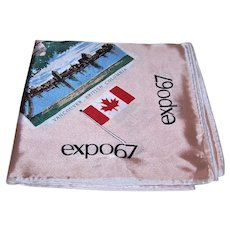 Vintage 100% Satin Scarf for Expo 1967 Montreal Canada   10 Provinces of Canada   Building Highlights of the Site