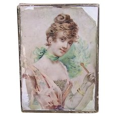 Antique Edwardian French Belle Epoque Candy Box | Bon Marche Department Store | Lovely Edwardian Lady in Pink