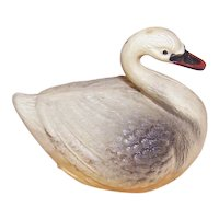 Vintage 1930s Made in USA Celluloid Figurine - Black & Cream Swan Early Plastic Toy | Small Size