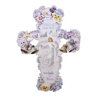 Antique Victorian Easter Die Cut - The Lord is Risen | Lg Embossed Cross with Angels Bells Pansies