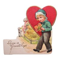 Unused 1930s Art Deco Valentines Day Card - Young Boy with Candy Box | Printed in Bavaria