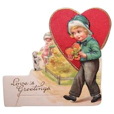 Unused C.1930 Valentines Day Card - Young Boy with Candy Box | Printed in Bavaria