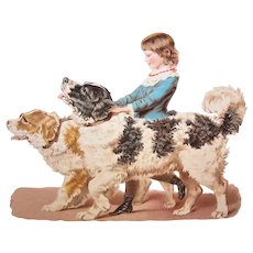 """Antique Victorian Die Cut - Young Girl Holding 2 Dogs 