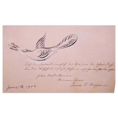 Antique C.1906 Pen & Ink Autograph with Hand Drawn Calligraphy - Dove Chasing Butterfly