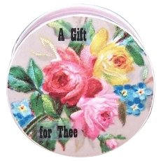 Vintage French Pill Box with Die Cut Trade Card Top - Pink Red Yellow Roses - A Gift for Thee