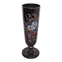 Antique Victorian Enamel Bristol Glass Vase   Brown with Gilt Trim and Painted Florals