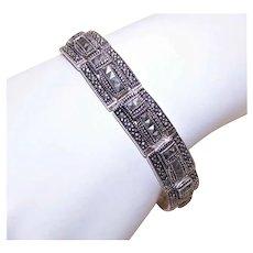 """Art Deco Revival Sterling Silver Marcasite 7"""" Link Bracelet"""