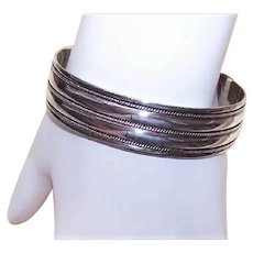 Sterling Silver Cuff Bracelet with Twisted Wire Decoration