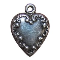 Sterling Silver Puffy Heart Charm - Curlicue Front with No Engraving - Plain Back