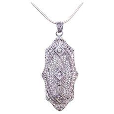 Art Deco Rhodium Plate Rhinestone Filigree Pendant | Negligee Lavaliere | Late Edwardian Jewelry