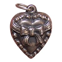 Sterling Silver Puffy Heart Charm - Repousse Ribbon Bow Front - No Engraving