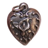 Sterling Silver Puffy Heart Charm - Repousse Calla Lily Front - No Engraving