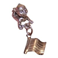 Silverplate 3D Figural Charm - Kewpie Baby Crawling | Made in USA { Souvenir of Shepherd of the Hills Farm